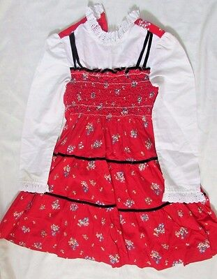 Polly Flinders hand smocked size 7 red white floral dress vintage costume