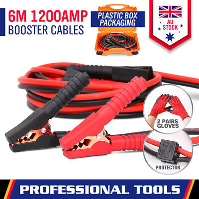 1200A Jumper Leads 6M Long Surge Protected Booster Cables + Safety Gloves & Case