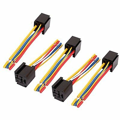 Relay Control Module Uxcell DC 12V/24V 80A 5-Pin Wire Cable Socket Harness 5pcs