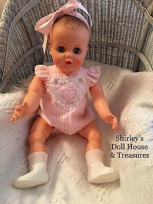 "Vintage Rare Drink & Wet Baby Doll 25"" Molded Hair 1958 JR 4869 Playpal Size"