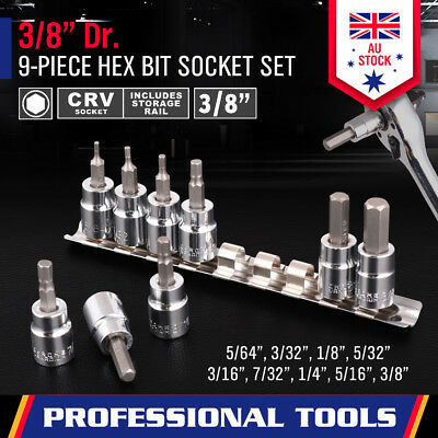 "9Pc 3/8"" Dr Hex Bit Allen Key Socket Set Male Star Torx Imperial / SAE With Rail"