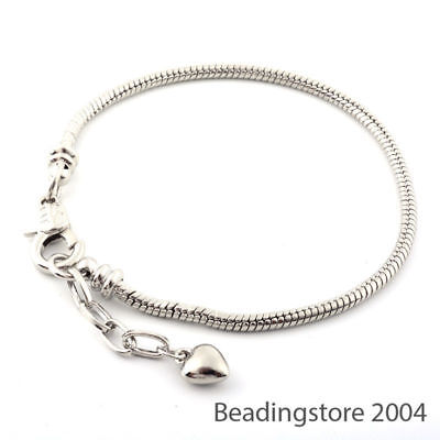 """12 Strds 7.87"""" European Style Bracelet Bases Snake Chain Lobster Clasp Craft 3mm"""