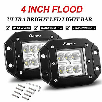 2x 4inch CREE 60W SPOT LED Cube Pods Work Light Flush Mount Offroad Truck SUV 5""