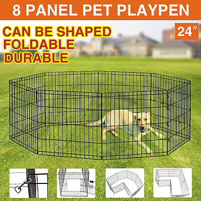 """24"""" 8 Panel Pet Dog Playpen Folding Metal Exercise Fence Enclosure Puppy Crate"""