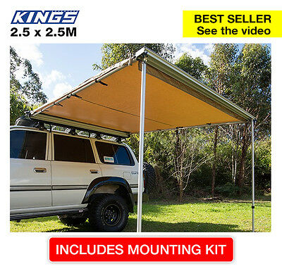 Adventure Kings Premium 4wd side Awning - 2.5x2.5m - LARGE waterproof, canvas, i