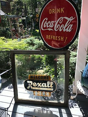 Very Rare Vintage Rexall Drugs Glass Window And Frame 2 Sided Welcome &thank You