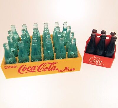 Two Vintage Toy Miniature Coca Cola Bottles in Small Case 24 & 6 Pack Doll House
