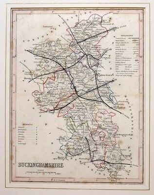 c1850 ANTIQUE MAP - MOUNTED - BUCKINGHAMSHIRE - HAND COLOURED DETAIL