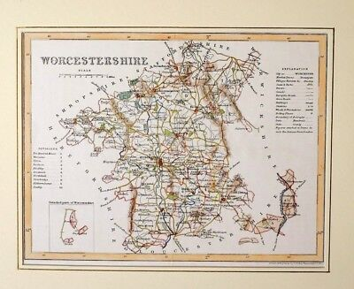 c1850 ANTIQUE MAP - MOUNTED - WORCESTERSHIRE - HAND COLOURED DETAIL