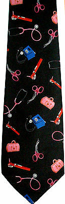 Medical Instruments Necktie New Tie Doctor Nurse Pharmacist Ambulance Student