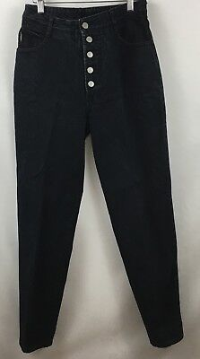 Bongo Vintage High Waisted Mom Jeans 100% Cotton Black Button Fly Size 9 x 29 US