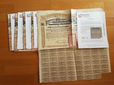 A Lot Of 5 Chinese Bonds 5,5% 1913 Petchili