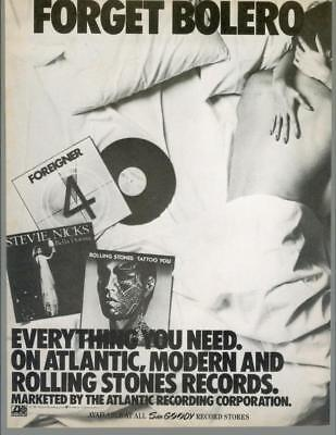 1981 Atlantic Records Sam Goody Rolling Stones Stevie Nicks Vintage Print Ad 80s