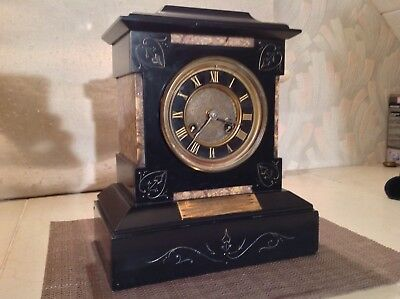 Victorian Black Slate And Marble Mantle Clock For Renovation Circa 1879