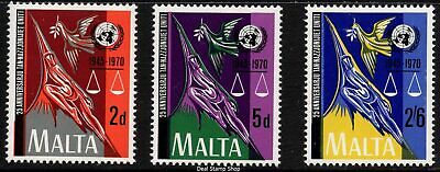 Malta 1970 25th Anniversary United Nations Complete Set SG 441-3 Unmounted Mint
