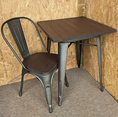 Tolix Tarnished Metal Chairs Tables Wood Seat Retro French Bistro Bar Cafe Steel