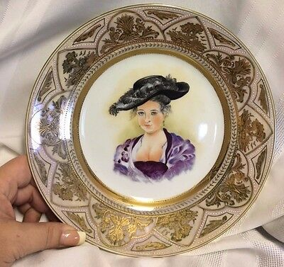 """Hand Painted Victorian Lady 9 3/8"""" Cabinet Plate Heavy Gold Design"""
