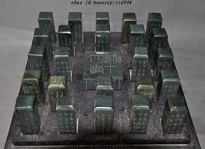 China Green Jade Jasper carved ancient Words Boxs Seal Stamp Signet Set Statue