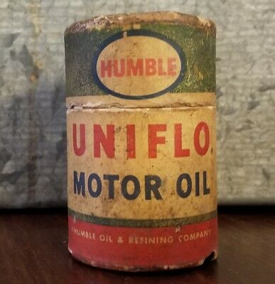 Vintage Humble Uniflo Motor Oil Can Shaped Match Box with Matches