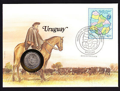 1984 Uruguay Map Stamp & Coin Cover Horseman Man on Horse design South America
