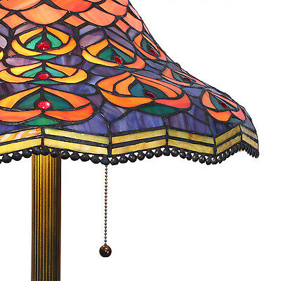 "Tiffany Style Stained glass Peacock Floor Lamp Handcrafted 18"" Shade"