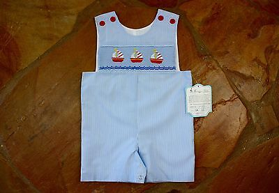 NEW Remember Nguyen Sailboat Shortall 18 mths Boys Smocked Blue