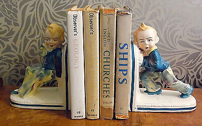 Vintage Kitsch Ceramic Bookends Hand Painted - One Pair