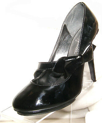 """8f51e16b80bb DELICIOUS 4 1 2"""" HEEL BLACK PUMPS WITH SIDE BOW WOMEN S US SIZE 8 ..."""