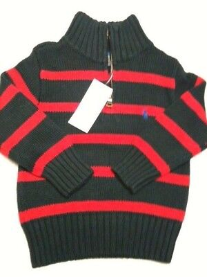 NWT Ralph Lauren Polo Toddler Boy BLACK RED  Holiday Winter Sweater 4T  zipper