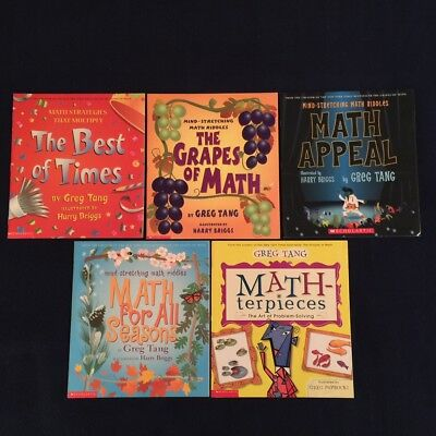 4 Lot Children's Picture Books Greg Tang: Math for All Seasons Grapes of Math &
