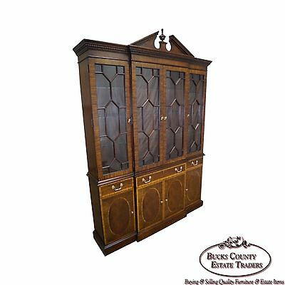 Councill Craftsman Inlaid Flame Mahogany Breakfront Bookcase