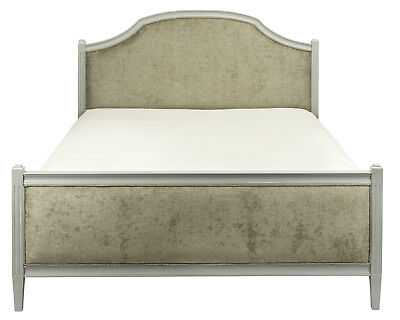 Abella Upholstered French Bed (Grey, Taupe Or Antique White ~ Various Fabrics)