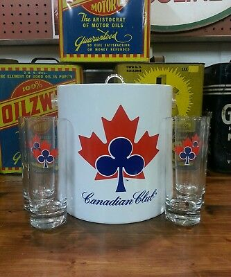 """canadian Club Ice Bucket With Four Canadian Club Glasses"""