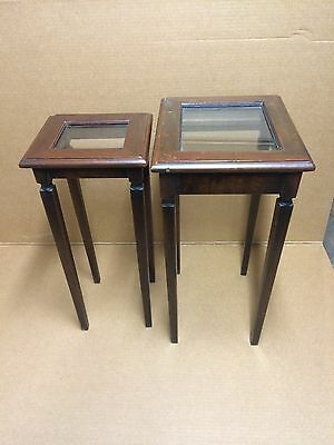 Vintage Wood and Glass Nesting End Table Set - B124