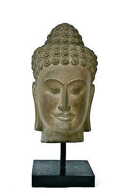 Buddha Thai Hand carved Khmer Stone Buddha Head Scuplture