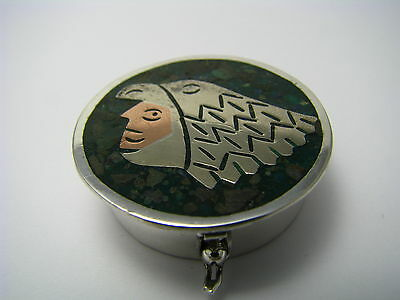 MIXED METALS STERLING SILVER PILL BOX PILLBOX MOSAIC by J.P Taxco Mexico ca1950s