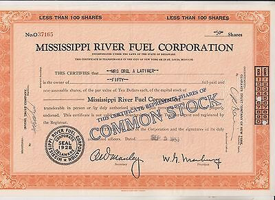 1951 Mississippi River Fuel Corporation Stock Certificate  - Delaware