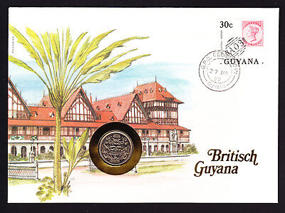 1985 Guyana Stamp & Coin Cover Architecture Building  Georgetown postmark