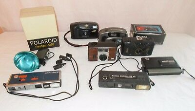 Mixed Lot Of 7 Assorted Point And Shoot Cameras & 1 Flash Untested - Estate Lot