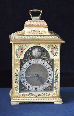 Antique Miniature Bracket Clock with Hand Painted Panels
