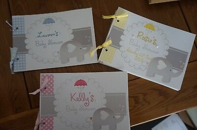 Personalised Baby Shower Guest Book -Elephant Theme 10/20 Printed pages
