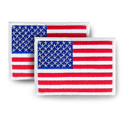 """2 Pack USA US American Flag Embroidered Patch (white border) - 3.5"""" x 2.5"""" Iron"""