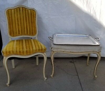 Vintage Italian French Cabriole Leg Chair and Table Ottoman Bench