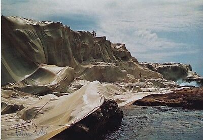 """CHRISTO (1935) """"Wrapped Coast, Little Bay, 1969"""" orig. sign. card / autograph"""