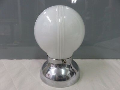 Vintage Chrome / Milk Glass Shades Wall Sconce Art Deco Light Fixture