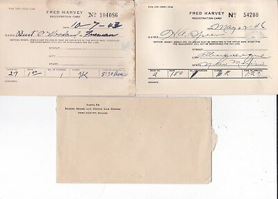 2 1946 Fred Harvey House New Mexico hotel registration Cards, Railroads