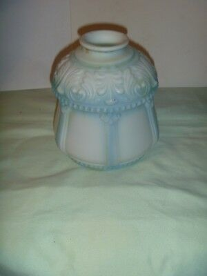 antique ornate glass lamp shade blue and white