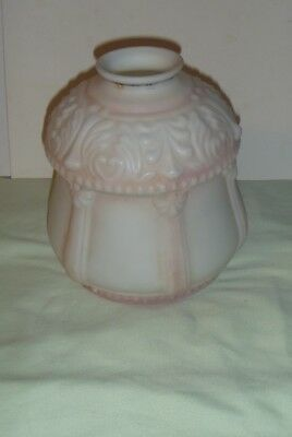 antique ornate glass lamp shade pink and white
