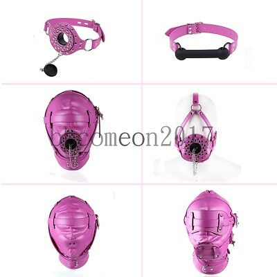 Rosy series Leather  Bondage Hood Mouth Gag Blindfold Full Head Mask Restraints