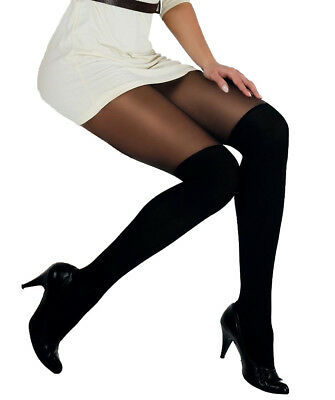 MOCK SUSPENDER TIGHTS  PaLa with Imitating Knee Sock Pattern New
